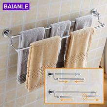 BAIANLE Bathroom Telescopic Towel Bars Stainless Steel Bath Wall Shelf Rack Hanging Towel Hangers Contemporary Style(China)