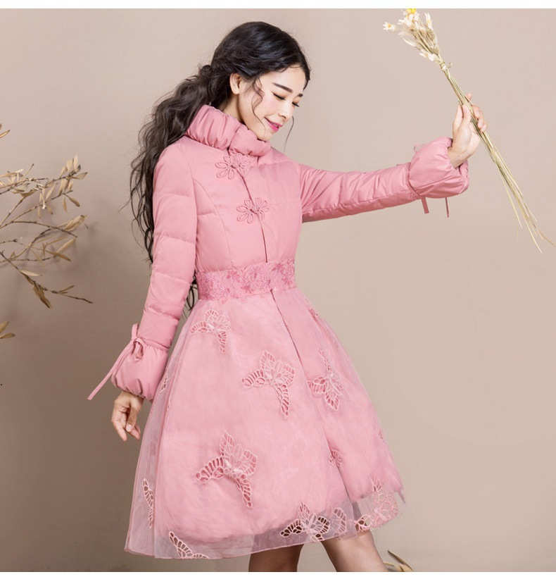 Autumn Winter Coat Women Temperament Embroidery Long Slim Down Parkas Girls Students Sweet Pink Coats Plus Size Overcoat