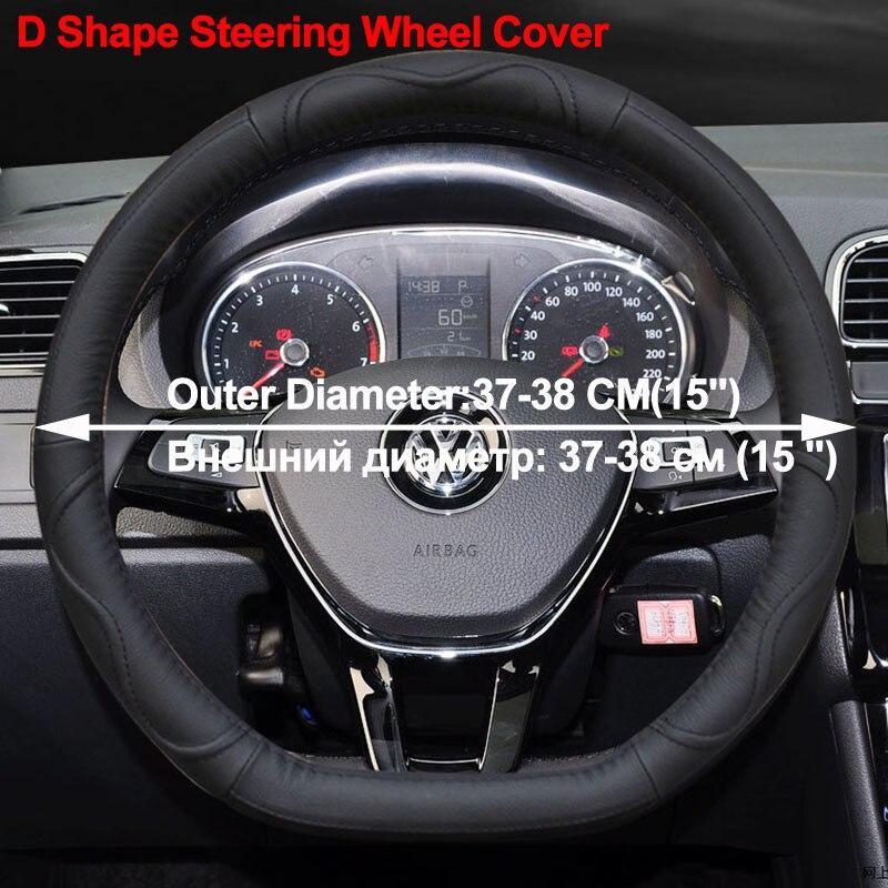 02 Car Steering Wheel Cover D Shape PU Leather For Volkswagen VW Golf R Alltrack Passat jetta Audi TT Renault Citroen Peugeot