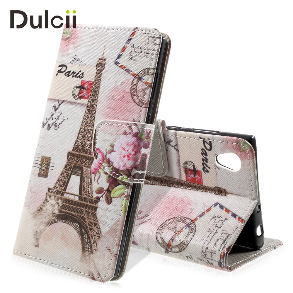 DULCII Phone Case Sony Xperia L1 Cases Pattern Printing PU Leather Folio Wallet Phone Bag Sony Xperia L 1 Cover Coque