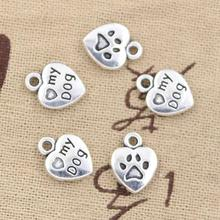 99Cents 12pcs Charms heart love my dog 13*10mm Antique Making pendant fit,Vintage Tibetan Silver,DIY bracelet necklace(China)