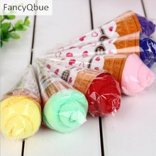 New Arrival Portable Shaped Cup Of Ice Cream Towel Double Color Soft Gift Towel (Random Color )
