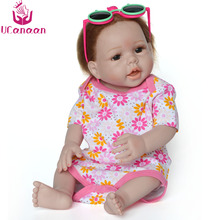 "52CM UCanaan Baby Doll Reborn 22"" Full Silicone Vinyl Body Children Play House Toys bebe gift Boneca Reborn Babies(China)"