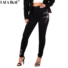 LALA IKAI Women Denim Pants Plus Size Embroidery Floral Printed Skinny Jeans Females Black Pencil High Waist Trousers KWA0248-45(China)