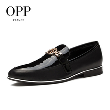 OPP 2017 Men's Leather Dress Shoes Patent Leather with Buckle Casual Dress Shoes Low Heel Zapatos hombres Oxfords for Men(China)