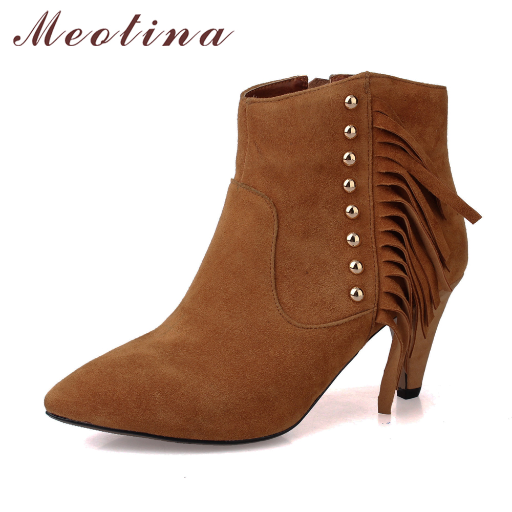 Meotina Tassels Genuine Leather Boots Women Rivets Ankle Boots Zip High Heel kid Suede Leather Boots Fringe Shoes Clearance<br>