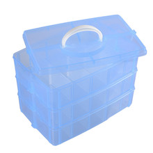 3-layers Detachable DIY Desktop Storage Box Transparent Plastic Storage Box Makeup Case Craft Container For Toys Rings Jewelry(China)