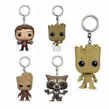 Keychain Guardians of the Galaxy Rocket Star-Lord action figure Bobble Head Q Edition new box for Car Decoration(China)