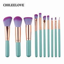 CHILEELOVE 10 Pcs Wood Handle Purple Pink Synthetic Hair Women Girl Base Cosmetics Makeup Brushes Set Makeover Kit