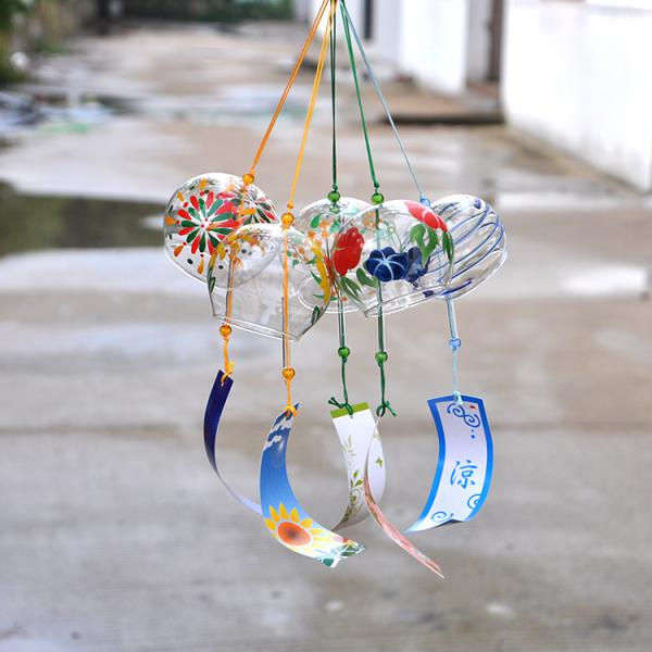 Japanese Glass Furin Wind Chime Bell Mobile Hanging Ornament Decor Garden Deck