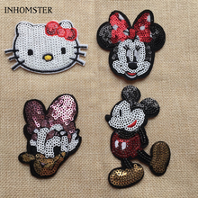 Hot Sale Cartoon Cloth Sequined Patches 5pcs/lot Mickey Mouse/Minnie/Daisy/Hello Kitty Garment Applique DIY Accessories(China)