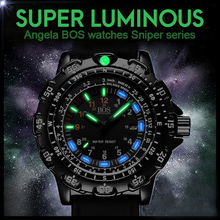 ANGELA BOS Germany watches 8015 Military Super Luminous Men Multifunction Rotary Dial Compass Army Alloy Silicone Luxury Watch