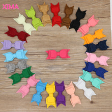 XIMA 24pcs/lot Fabric Hair Bows for Kids 3 Layer Non-Woven Felt Fabric bow with Hair Clips Hair Accessories