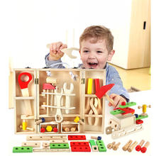Wooden toys New House Children Wooden storage box Service Simulation Toolbox game Toy boys pretend play wood Blocks toy CU122(China)