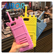Fashion cartoon sexy girl love 3D simulation walkie talkie interphone telephone silicone cell phone case For Iphone 6 6S 7 PLUS(China)