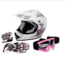 DOT Youth Hot Pink Butterfly Dirt Bike ATV Helmet Motocross+Goggles+gloves S M L