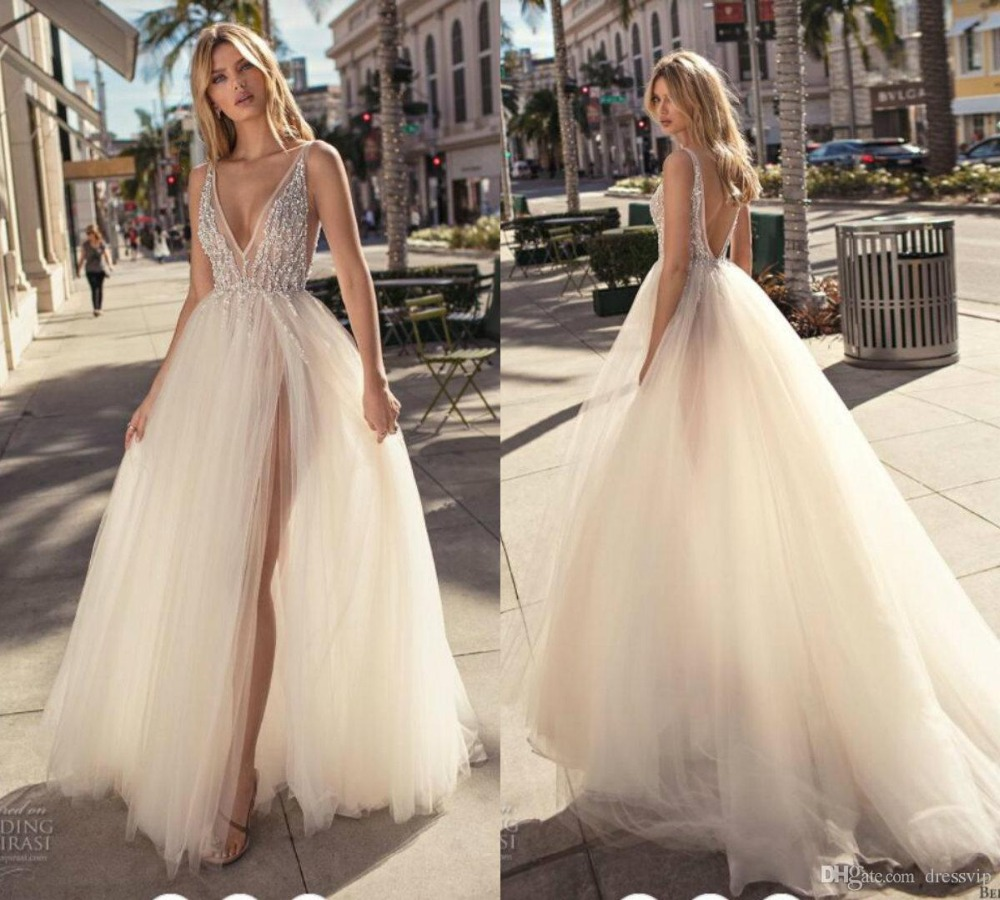 2019 Bohemian Wedding Dresses Deep V Neck Lace Beaded Sequins Side Split Backless Beach Wedding Gown Court Train