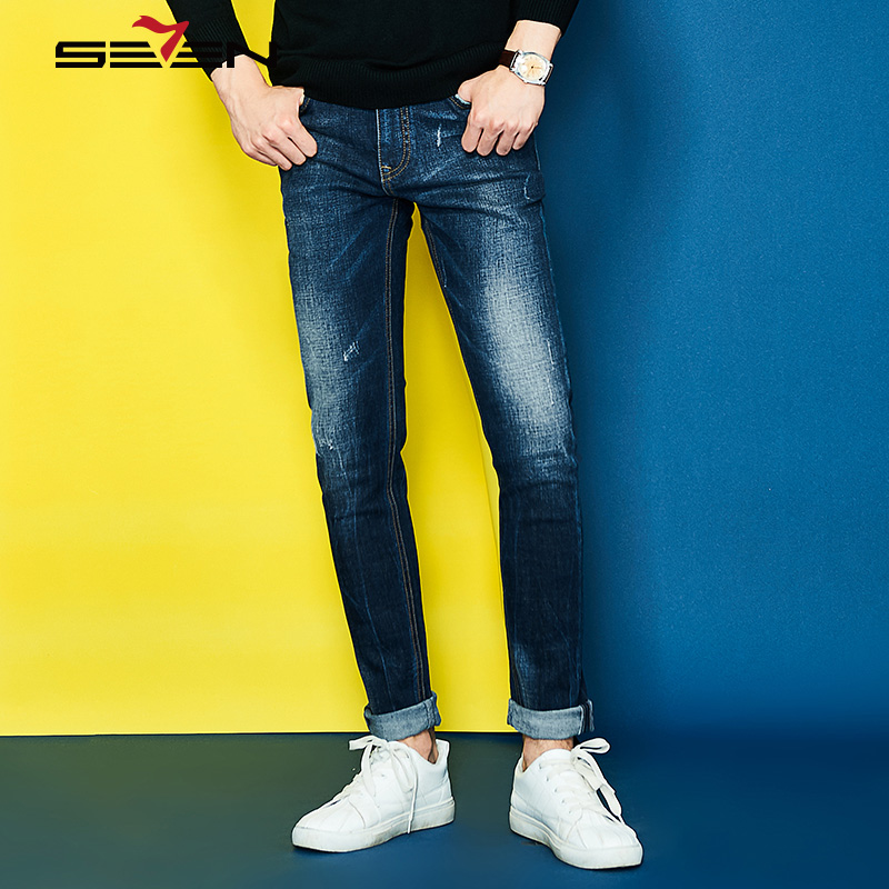 Seven7 2017 Mens Jeans New Fashion Men Casual Jeans Slim Straight High Elastic Jeans Loose Waist Long Trousers Hot 113S88080Îäåæäà è àêñåññóàðû<br><br>