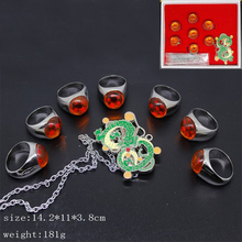 Dragon Ball 8pcs/set Shenron Necklace Action Figure 7pcs dragon ball rings Doll Zinc Alloy figure Toys Brinquedos Anime