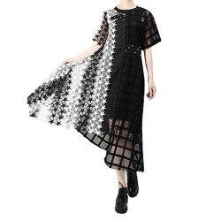 Женское ажурное вечернее платье, черное или белое длинное ассиметричное платье для вечеринки, модель 3517 на лето, 2019