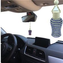 Beautiful car styling perfume pendant  lady diamond car air freshener Car rear view mirror perfume bottle  empty bottle yisi