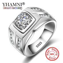 YHAMNI Original Solid 925 Silver Rings For Men Sona 1 Carat Diamant Engagement Rings Cubic Zirconia Wedding Rings Men Jewelry 04(China)