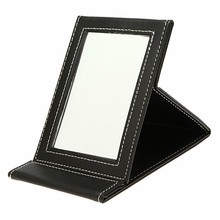 High Quality 1Pcs Foldable Makeup Mirrors Fashion Black PU Leather Portable Travel Mirror Compact Make Up Desktop Tools