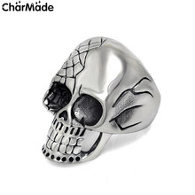 Personalized Biker Skull Mens Ring with Half Polished and Half Engraved Mesh Design in Stainless Steel Size 7-12 CharMade R639