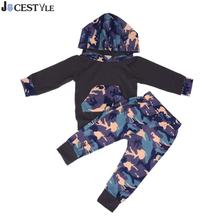 2017 New 2pcs Autumn Baby Boy sports leisure Camouflage Hooded Sweatshirt+Pants Outfits Set Children's clothes(China)