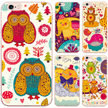 Cute Amusing Cartoon Fish Elephant Owl Frog Design Pattern Case for iphone 5 5S SE Soft Silicon TPU Phone Back Cover Cases(China)