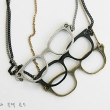 36pcs/lot Free shipping Fashion Antique Glasses Necklace,cute Glass Pendant Necklace mixed  colors