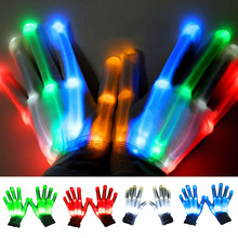 TAOS 1 Pair LED Light Flashing Cotton Hand  Finger Gloves Lighting for Rave Dancing Carnival Concert Halloween Party Festival