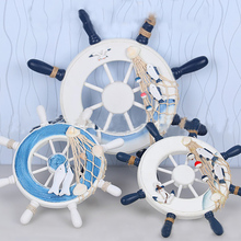 New Mediterranean 1 pc Nautical Home Fishing Net Beach Hot Ship Steering Wheel Wooden Boat Wall Decor 2 Styles 23cm&32cm(China)
