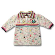brand Free Shipping 2016 autumn girl  knitwear cotton tee wave point sweater coat of the girls 25