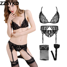 Buy ZZSYKD 2018 4PCS Push Bra Sexy Lace Underwear Set Women Unlined Plus Size Transparent Bra Panty Female Lingerie Set
