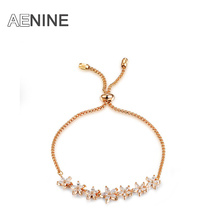 AENINE Charming Flower Bracelet Micro Inlay Craft AAA Cubic Zirconia Studded Bracelet Bijouterie For Women And Girls B150360780R