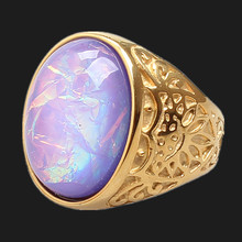 FIVETWOO RO037 High Quality 316L Stailess Steel Opal Rings In Gold-Color