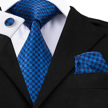 2016 New Bright Blue and Deep blue Plaid Tie White Plaid Tie For Wedding Business Tie Hanky Cufflinks Set C-561(China)