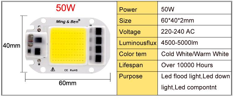 [MingBen] LED COB Lamp Chip 5W W 30W 50W 2V Input Smart IC Driver Fit For DIY LED Floodlight Spotlight Cold White Warm White 7