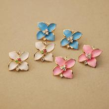 4 Leaf Flower White Black Blue Pink Colors for Selecting Crystal Golden Stud Earrings for Women Trendy Piecing Jewelry