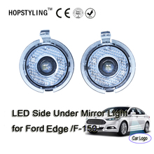 2 pcs LED under rear mirror light for Ford F-150 Edge car side mirror under puddle lamp with ghost shadow car logo(China)