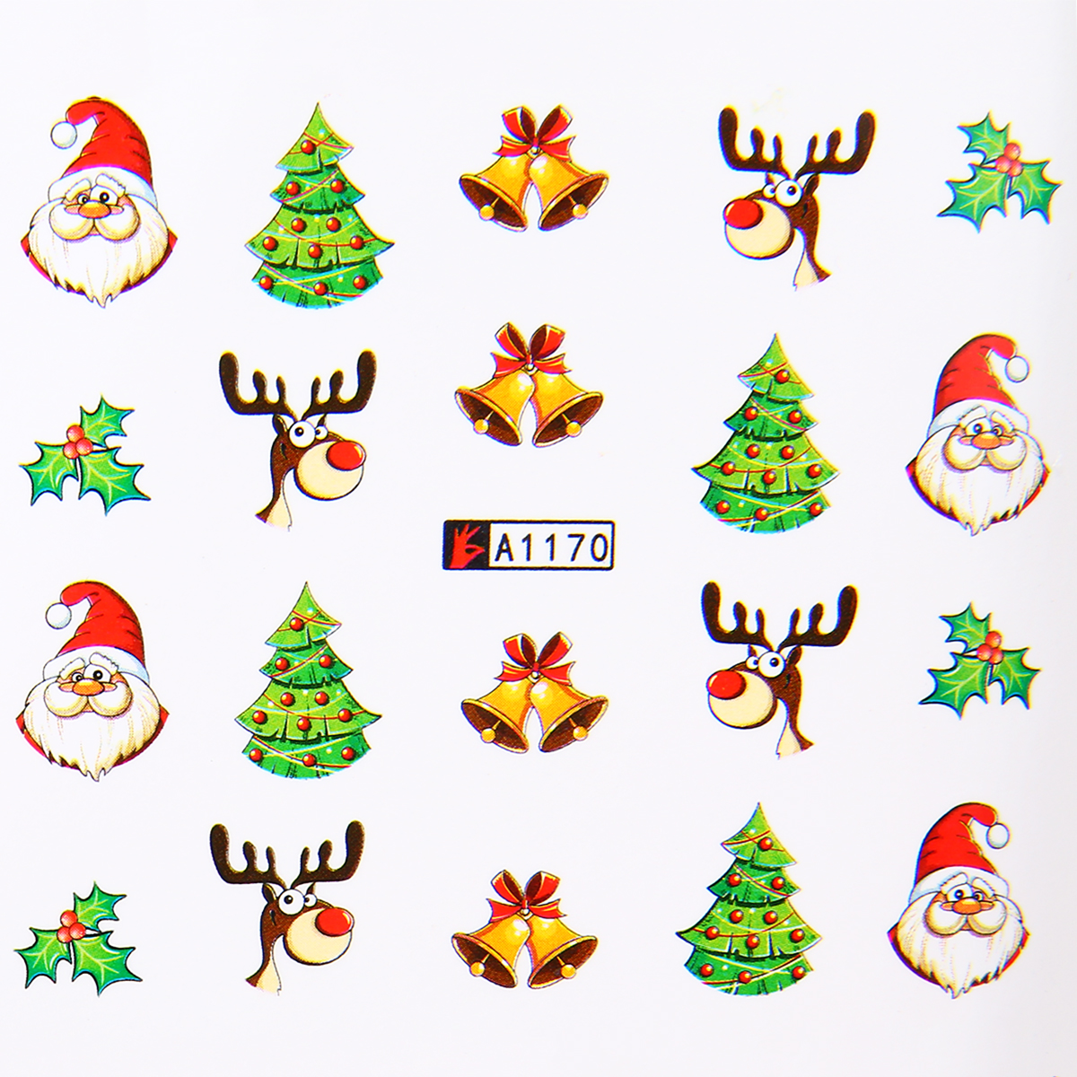 Shellhard 12 Styles Christmas Tree Nail Stickers Snowflakes Snowmen Transfer DIY Kids Christma Nail Decals New Year Gift