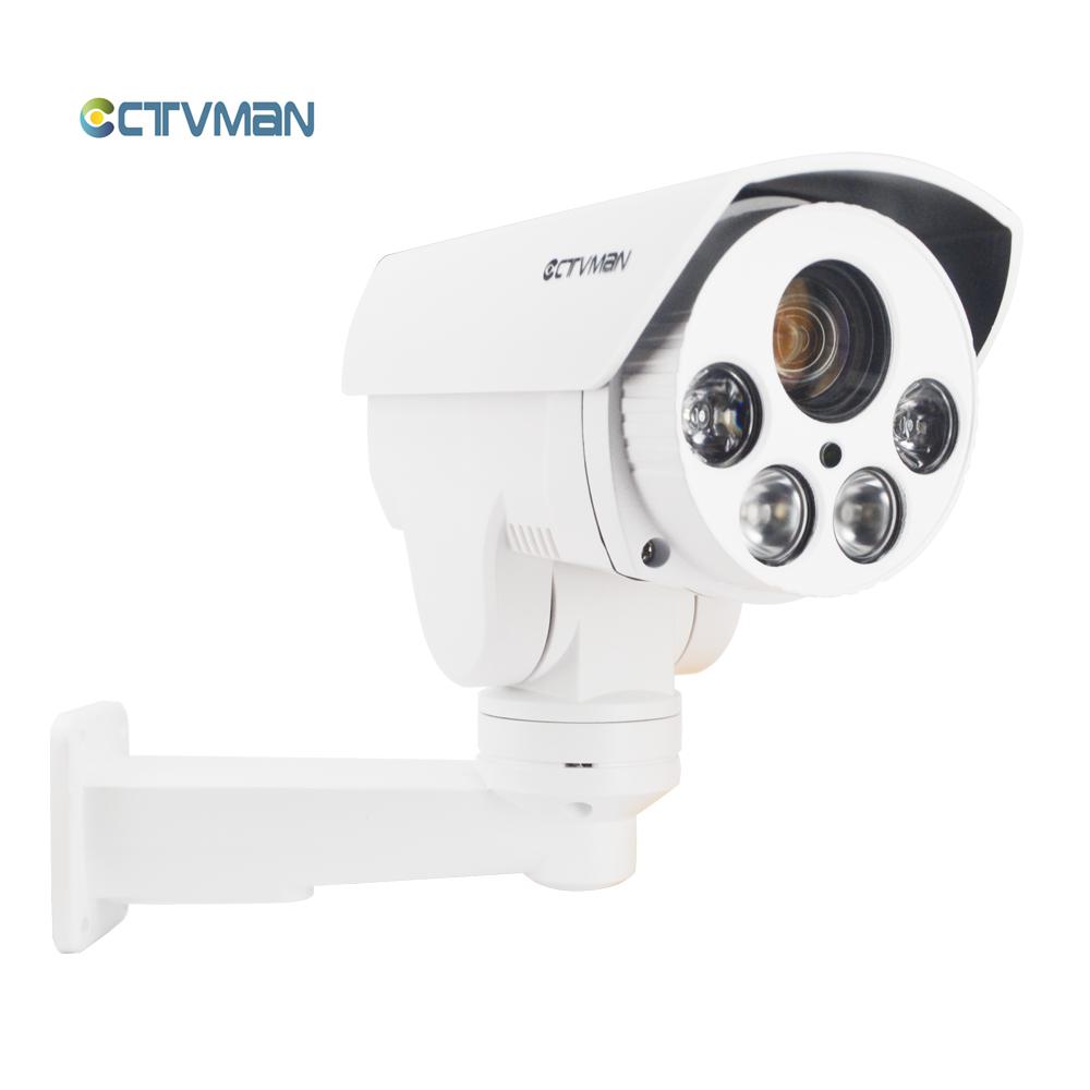 01CTVMAN PTZ IP Cameras POE Outdoor 1080P 10X Zoom IR 80M Night Vision SD Card Slot Security Onvif External Cam For smartphone P2P