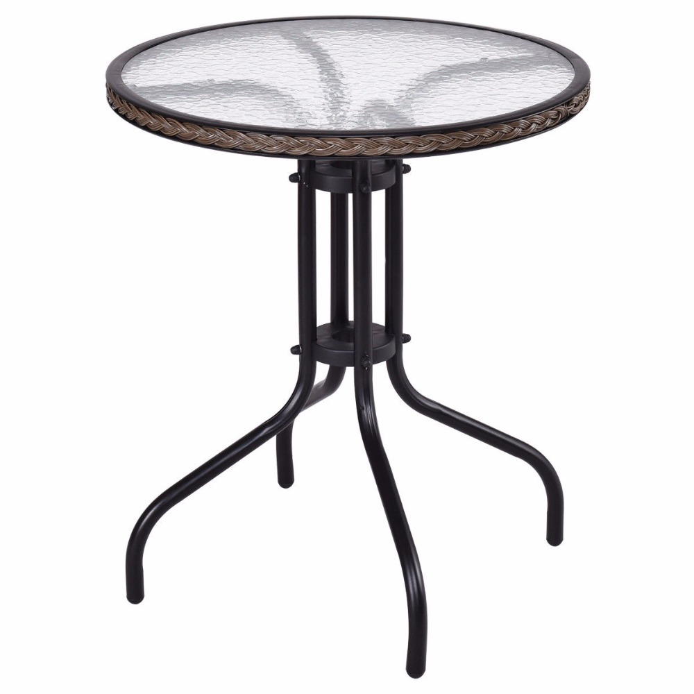 Goplus 24 Patio Furniture Glass Top Patio Round Table Steel Frame Kitchen Dining Table Modern Durable Rattan Table HW56171<br>