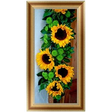 DIY 5D Diamonds Embroidery Sun flower Round Diamond Painting Cross Stitch Kits Diamond Mosaic Home decor 30*65cm-W210(China)