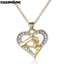 XIAOJINGLING Diamante Love Heart Hand In Hand Pendant Crystal Rhinestone Necklace Women Girls Jewelry Gifts for Mom Daughter(China)