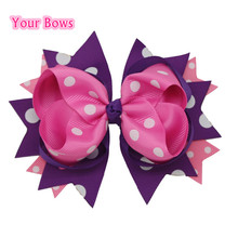 1PC 5.5Inches Big Stacked Boutique Hair Bows Hair Clips Purple Pink Polka Dot Bows Hairpin For Girl Cute Kids Hair Accessories(China)