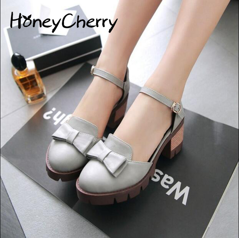 2017 New Summer Institute Wind Sen Female Bow With Thick Hollow Retro Casual Sandals Student Shoes<br><br>Aliexpress