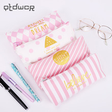 Creative Pink Series Pencil Case Kawaii Korea Style Canvas Stripe Pencils Bags School Supplies Stationery Pen Box(China)
