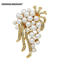 Bunch of Simulated Pearls Flower Bridal Wedding Brooch Pins for Women or DIY Accessories Jewelry